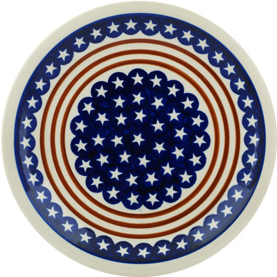"Polish Pottery Plate 11"" Stars And Stripes Foreve"