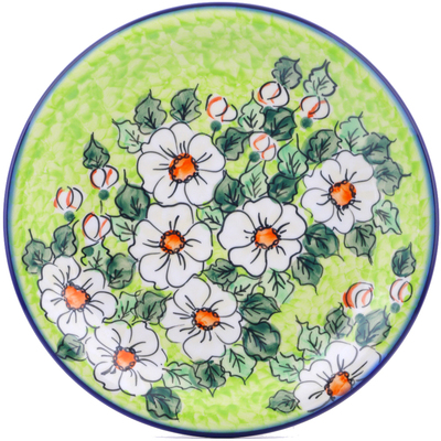 "Polish Pottery Plate 11"" White Flower Bouquet UNIKAT"
