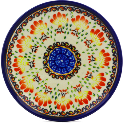 "Polish Pottery Plate 6"" Blooming Red"