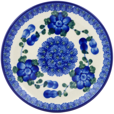"Polish Pottery Plate 6"" Blue Poppies"