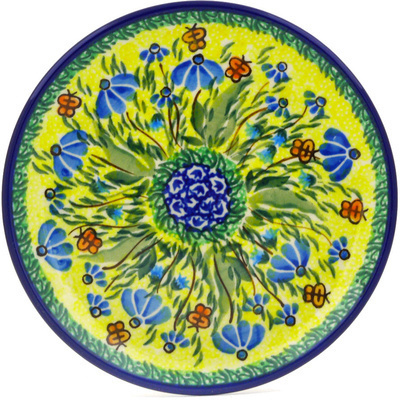 "Polish Pottery Plate 6"" Butterfly Sunshine UNIKAT"