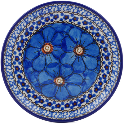 "Polish Pottery Plate 6"" Cobalt Poppies UNIKAT"
