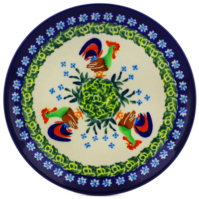 "Polish Pottery Plate 6"" Country Rooster UNIKAT"
