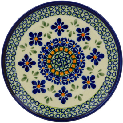 "Polish Pottery Plate 6"" Gingham Flowers"