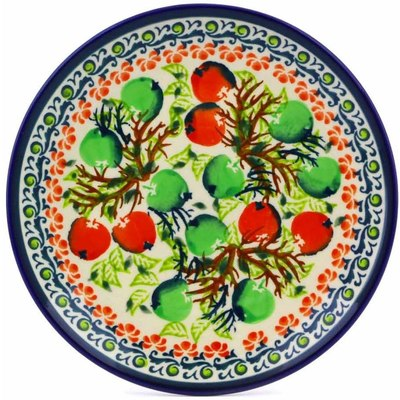 "Polish Pottery Plate 6"" Red And Green Berries"