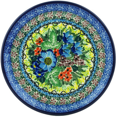 "Polish Pottery Plate 6"" Splendid Meadow UNIKAT"