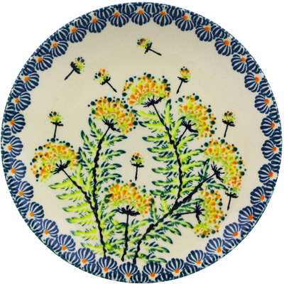 "Polish Pottery Plate 6"" Yellow Dandelions"