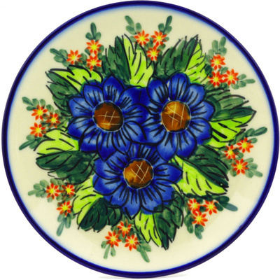 "Polish Pottery Plate 7"" Blue Bouquet UNIKAT"