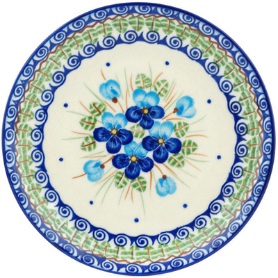 "Polish Pottery Plate 7"" Blue Pansy"