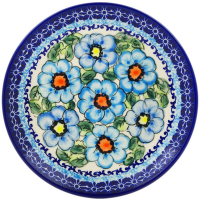 "Polish Pottery Plate 7"" Bold Blue Poppies UNIKAT"