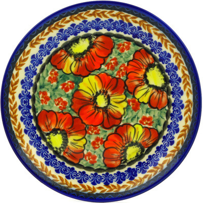 "Polish Pottery Plate 7"" Bold Poppies UNIKAT"