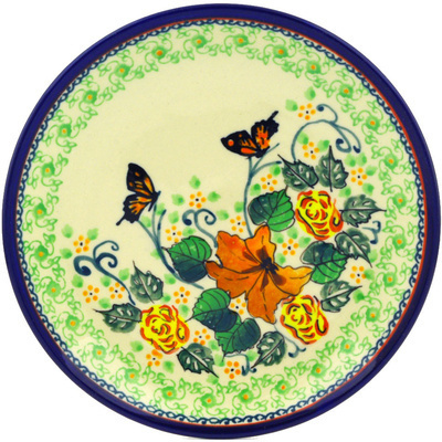 "Polish Pottery Plate 7"" Butterfly Meadow UNIKAT"