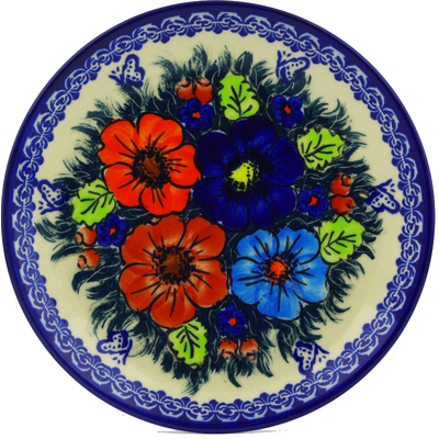 "Polish Pottery Plate 7"" Butterfly Splendor UNIKAT"
