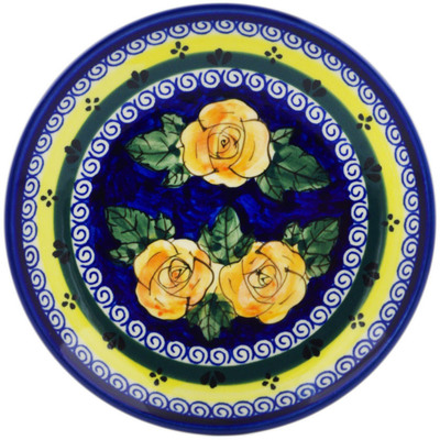 "Polish Pottery Plate 7"" Cabbage Roses"