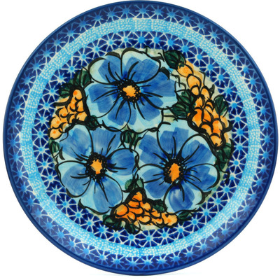 "Polish Pottery Plate 7"" Corn In The Blue UNIKAT"