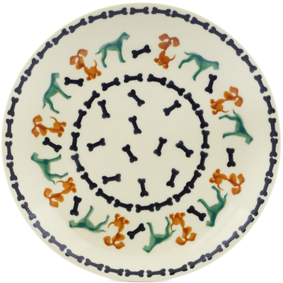 "Polish Pottery Plate 7"" Dogs And Bones"