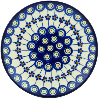 "Polish Pottery Plate 7"" Floral Peacock"