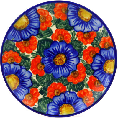 "Polish Pottery Plate 7"" Flowers In Bloom UNIKAT"