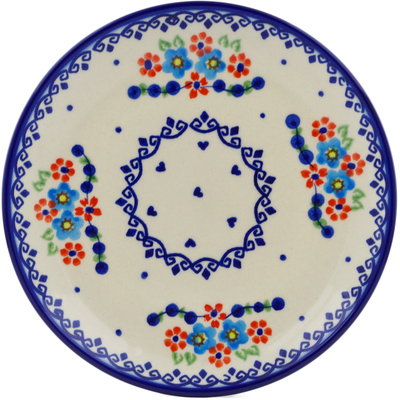 "Polish Pottery Plate 7"" Hearts And Flowers"