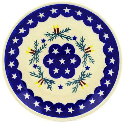 "Polish Pottery Plate 7"" Holly Stars"