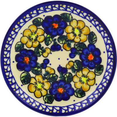"Polish Pottery Plate 7"" Pansy Circle UNIKAT"