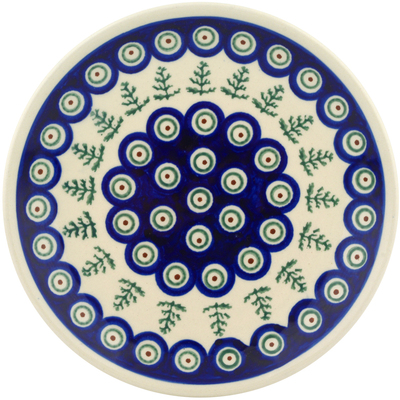 "Polish Pottery Plate 7"" Peacock Christmas"