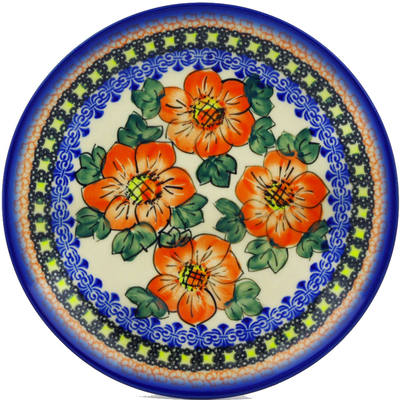 "Polish Pottery Plate 7"" Perfect Pansies UNIKAT"