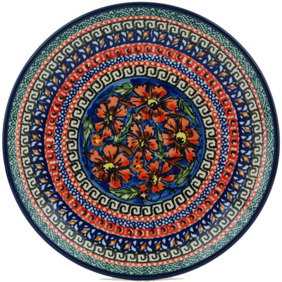 "Polish Pottery Plate 7"" Poppies UNIKAT"