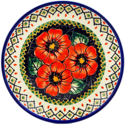 "Polish Pottery Plate 7"" Poppy Passion UNIKAT"