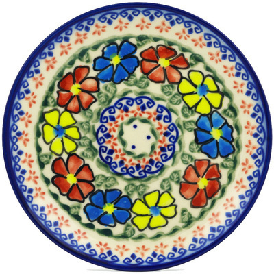 "Polish Pottery Plate 7"" Primary Poppies UNIKAT"