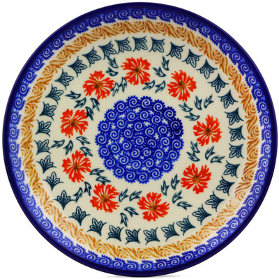 "Polish Pottery Plate 7"" Red Cornflower"