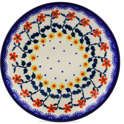 "Polish Pottery Plate 7"" Red Sunflower"