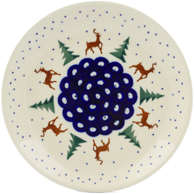 "Polish Pottery Plate 7"" Reindeer Pines"