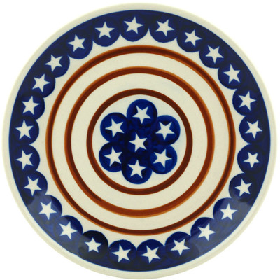 "Polish Pottery Plate 7"" Stars And Stripes Foreve"