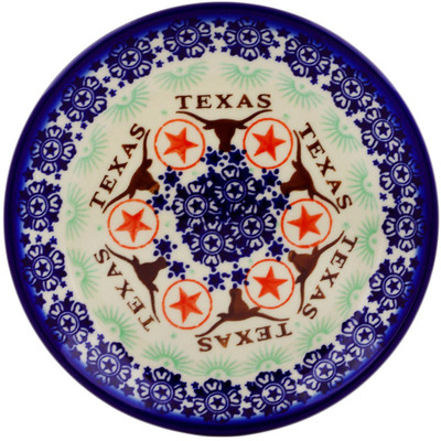 "Polish Pottery Plate 7"" Texas State"