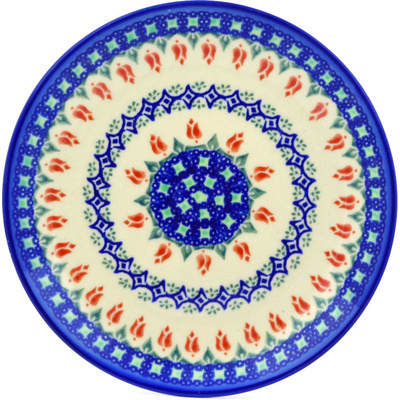 "Polish Pottery Plate 7"" Tulips And Diamonds"