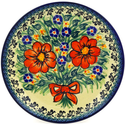 "Polish Pottery Plate 7"" Wild Bouquet UNIKAT"