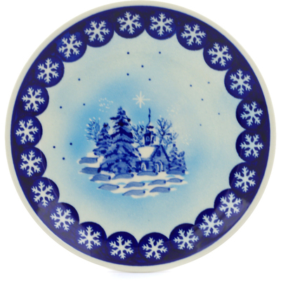 "Polish Pottery Plate 7"" Winter Chapel"