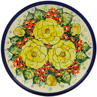 "Polish Pottery Plate 7"" Yellow Blooming Rose UNIKAT"