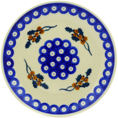 "Polish Pottery Plate 7"" Yellow Holly Berries"