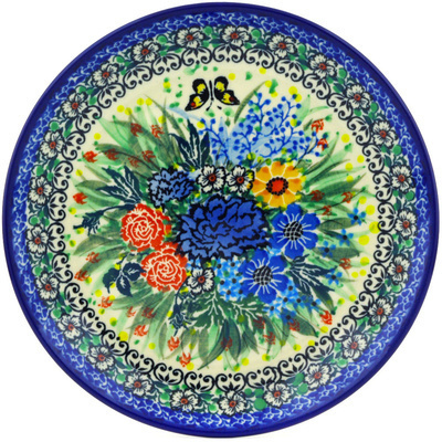 "Polish Pottery Plate 8"" Baby's Breath Butterfly UNIKAT"