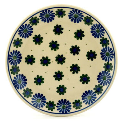 "Polish Pottery Plate 8"" Black Asters"