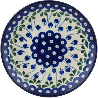 "Polish Pottery Plate 8"" Bleeding Heart Peacock"