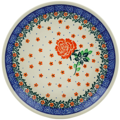 "Polish Pottery Plate 8"" Blooming Red Rose"