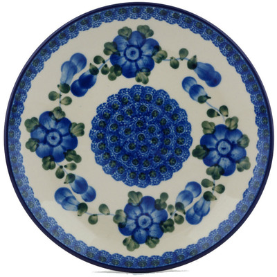 "Polish Pottery Plate 8"" Blue Poppies"