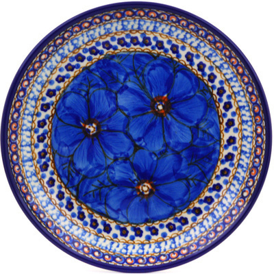 "Polish Pottery Plate 8"" Blue Poppies UNIKAT"