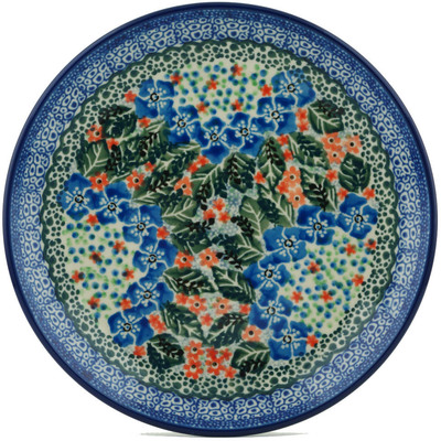 "Polish Pottery Plate 8"" Blue Star Flowers UNIKAT"