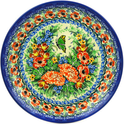 "Polish Pottery Plate 8"" Butterfly Meadow UNIKAT"