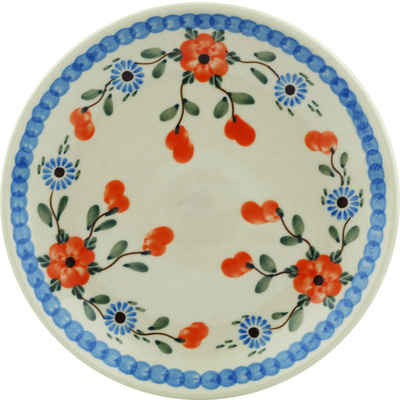 "Polish Pottery Plate 8"" Cherry Blossoms"