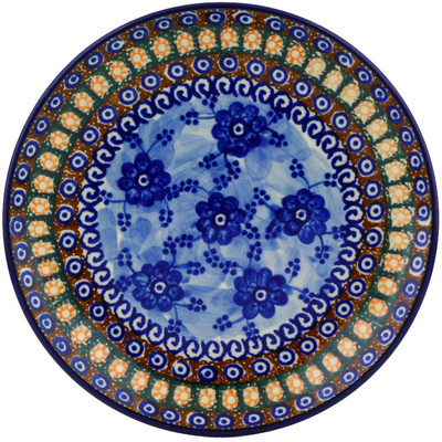 "Polish Pottery Plate 8"" Dancing Blue Poppies UNIKAT"